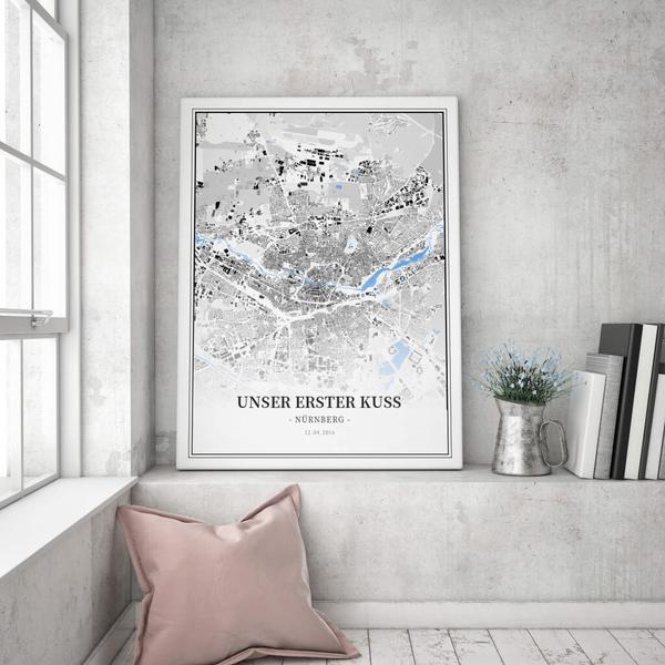 Stadtkarte Nürnberg im Stil Schwarzplan