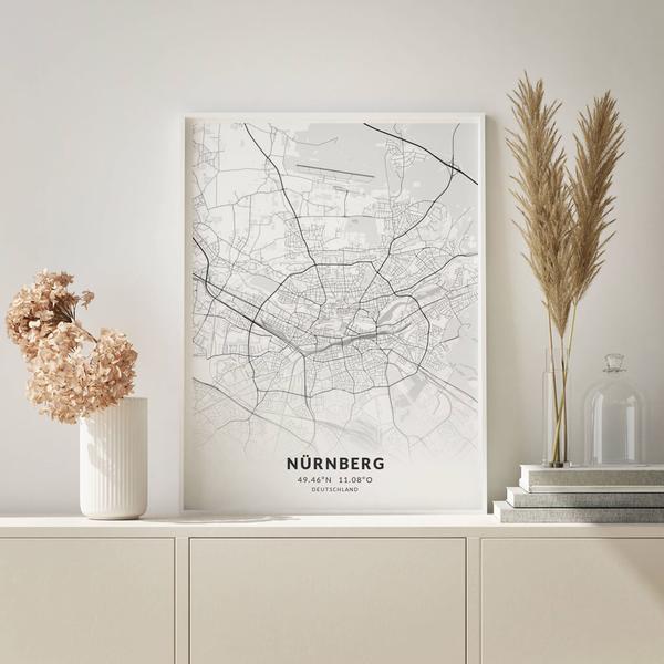 City-Map Nürnberg im Stil Elegant
