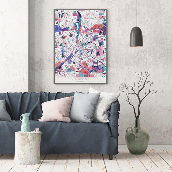 Stadtkarte Neumünster im Stil Primavera