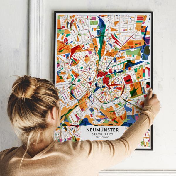 City-Map Neumünster im Stil Kandinsky