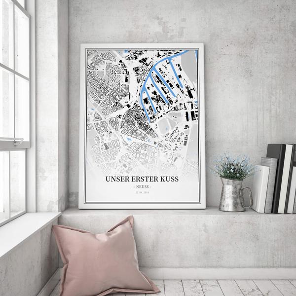Stadtkarte Neuss im Stil Schwarzplan
