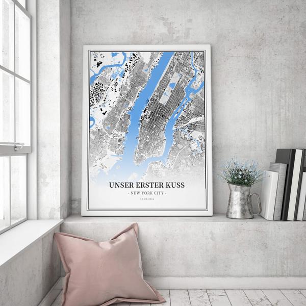 Stadtkarte New York City im Stil Schwarzplan