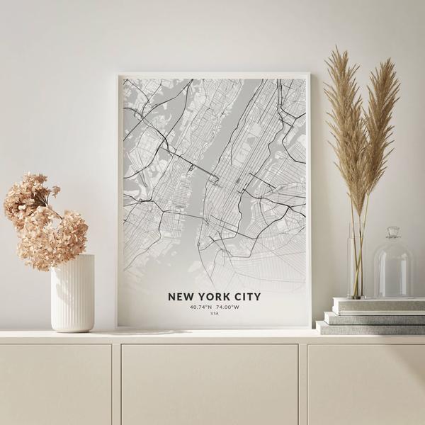 City-Map New York City im Stil Elegant