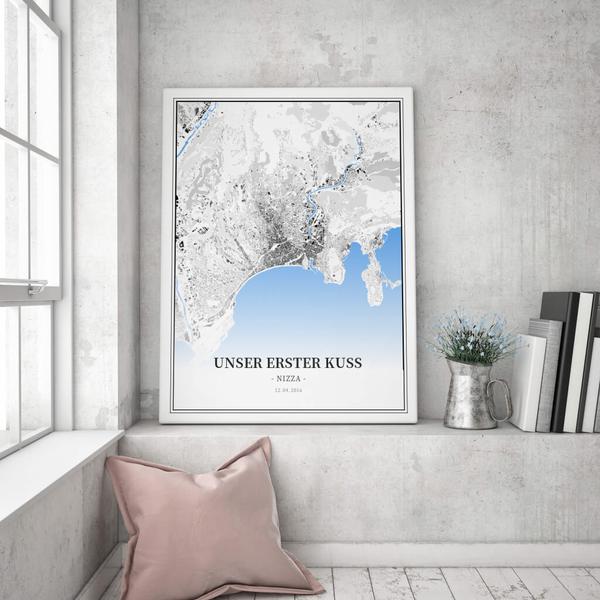 Stadtkarte Nizza im Stil Schwarzplan