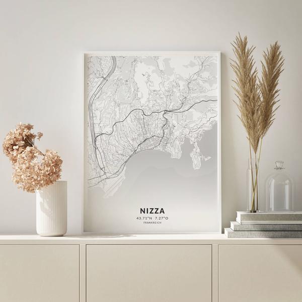 City-Map Nizza im Stil Elegant