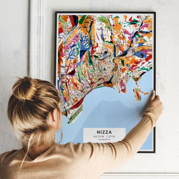 City-Map Nizza im Stil Kandinsky