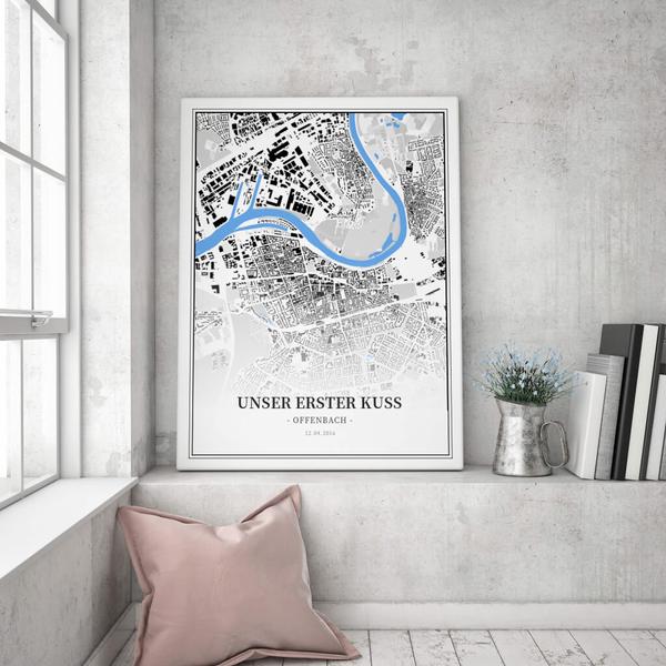Stadtkarte Offenbach im Stil Schwarzplan
