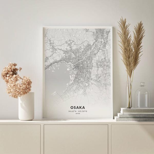 City-Map Osaka im Stil Elegant