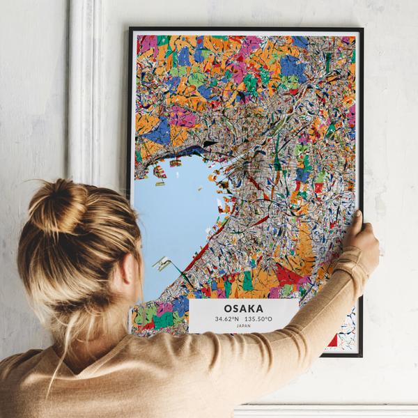 City-Map Osaka im Stil Kandinsky