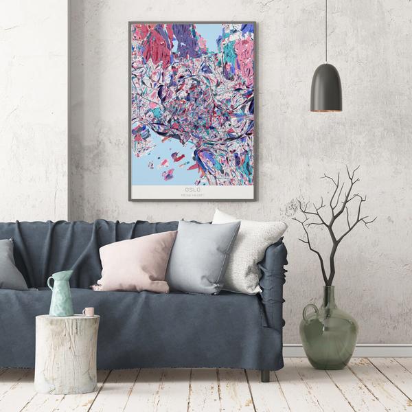 Stadtkarte Oslo im Stil Primavera