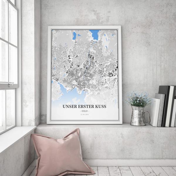 Stadtkarte Oslo im Stil Schwarzplan