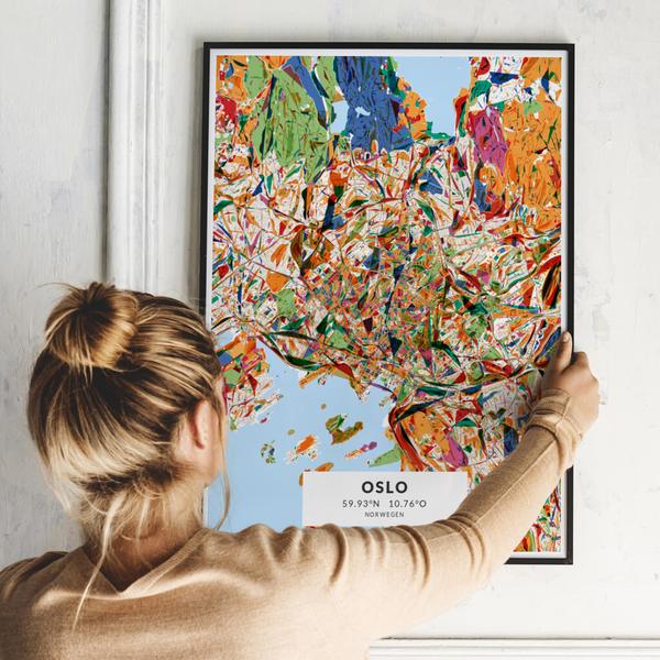 City-Map Oslo im Stil Kandinsky