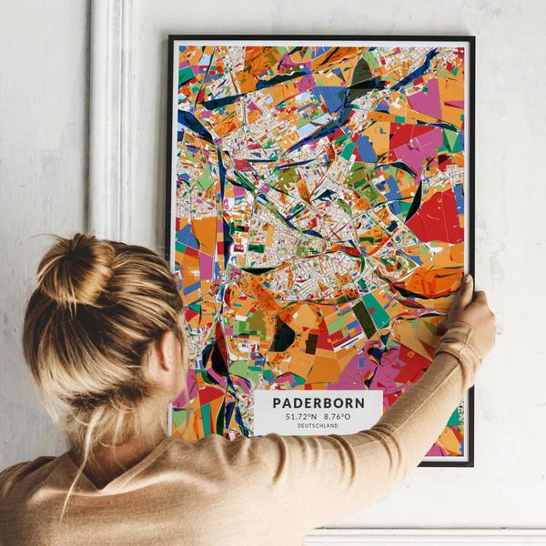 City-Map Paderborn im Stil Kandinsky