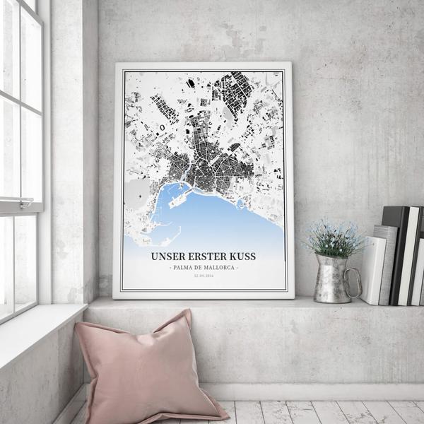 Stadtkarte Palma De Mallorca im Stil Schwarzplan