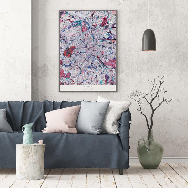 Stadtkarte Paris im Stil Primavera