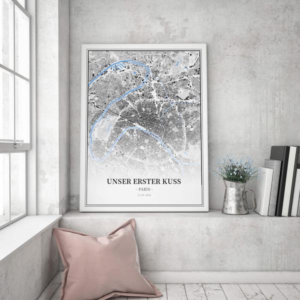 Stadtkarte Paris im Stil Schwarzplan