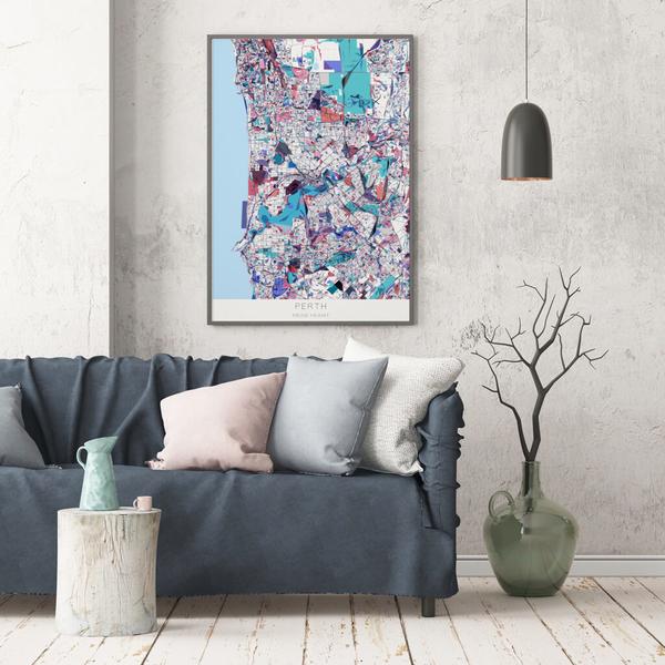 Stadtkarte Perth im Stil Primavera