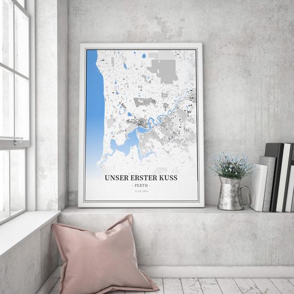 Stadtkarte Perth im Stil Schwarzplan