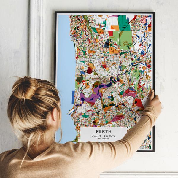 City-Map Perth im Stil Kandinsky