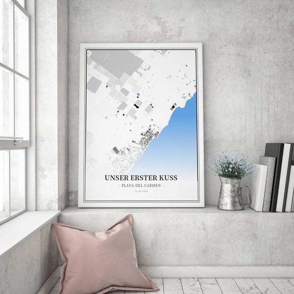 Stadtkarte Playa Del Carmen im Stil Schwarzplan