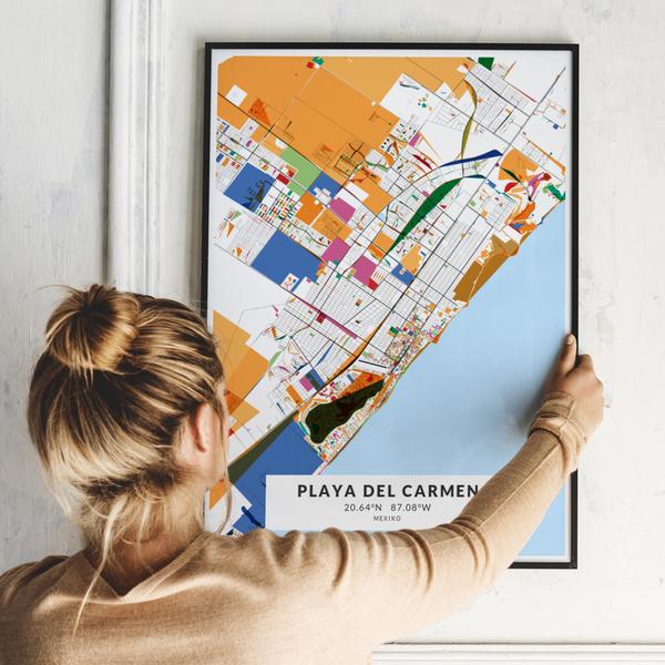 City-Map Playa Del Carmen im Stil Kandinsky