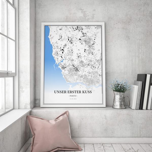 Stadtkarte Porto im Stil Schwarzplan