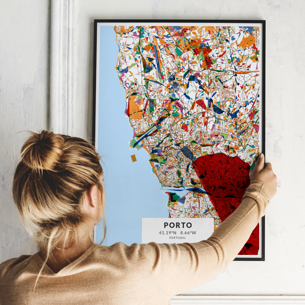 City-Map Porto im Stil Kandinsky