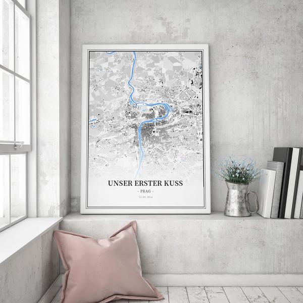 Stadtkarte Prag im Stil Schwarzplan