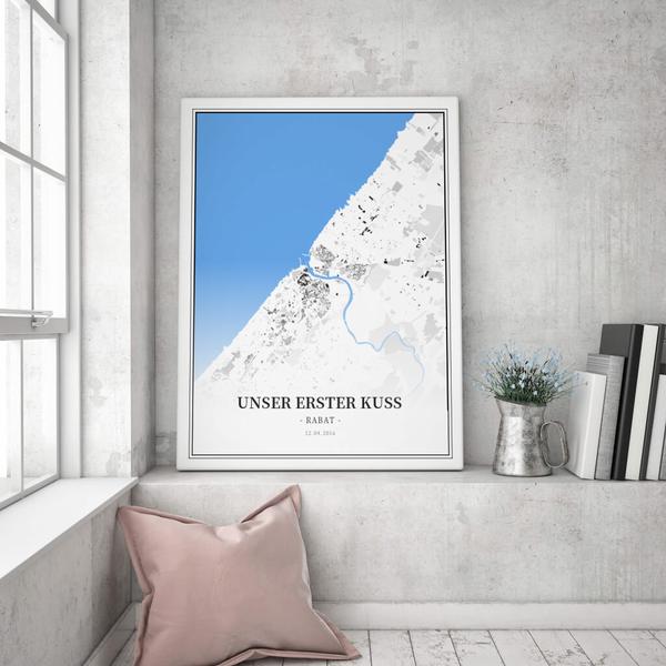 Stadtkarte Rabat im Stil Schwarzplan