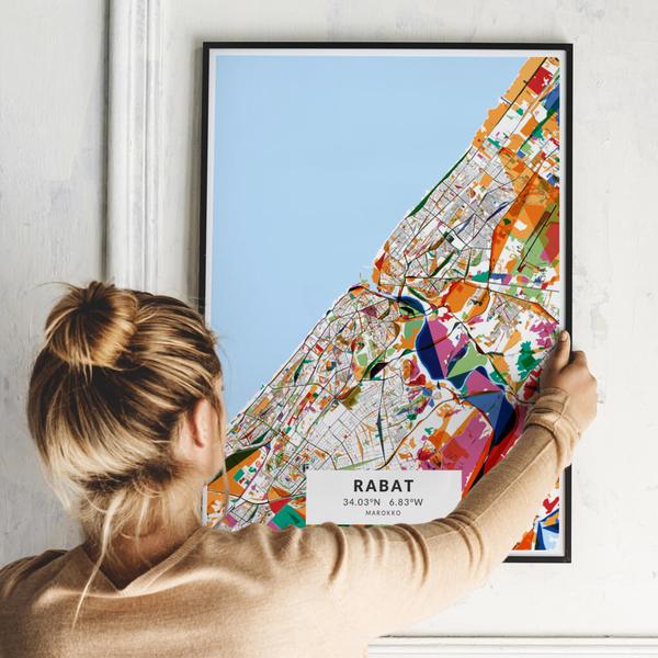 City-Map Rabat im Stil Kandinsky