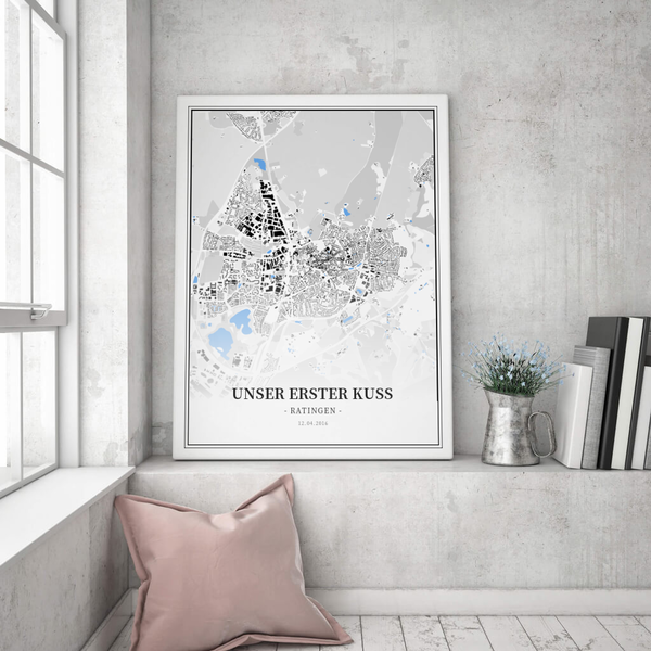 Stadtkarte Ratingen im Stil Schwarzplan