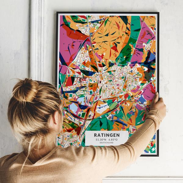 City-Map Ratingen im Stil Kandinsky