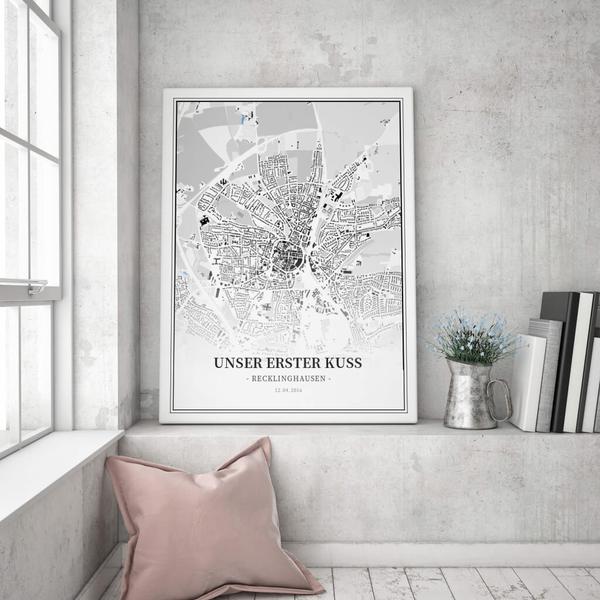 Stadtkarte Recklinghausen im Stil Schwarzplan