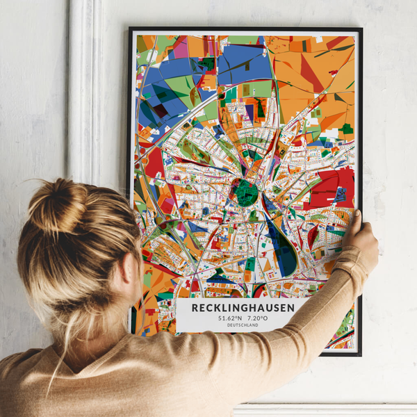 City-Map Recklinghausen im Stil Kandinsky