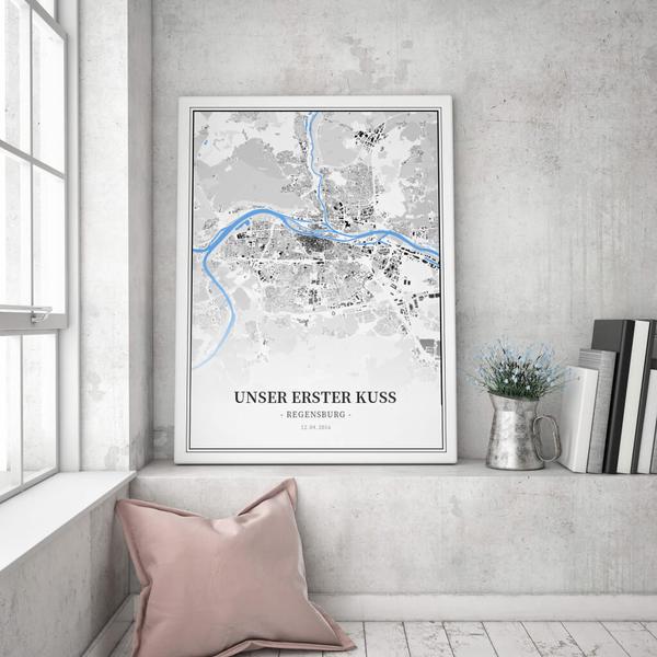 Stadtkarte Regensburg im Stil Schwarzplan