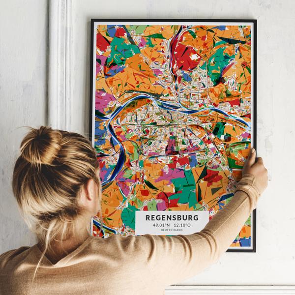 City-Map Regensburg im Stil Kandinsky