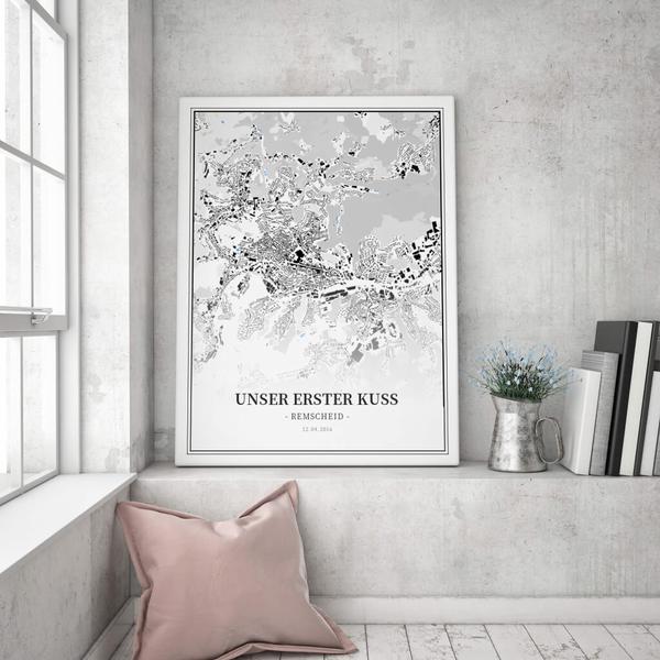 Stadtkarte Remscheid im Stil Schwarzplan