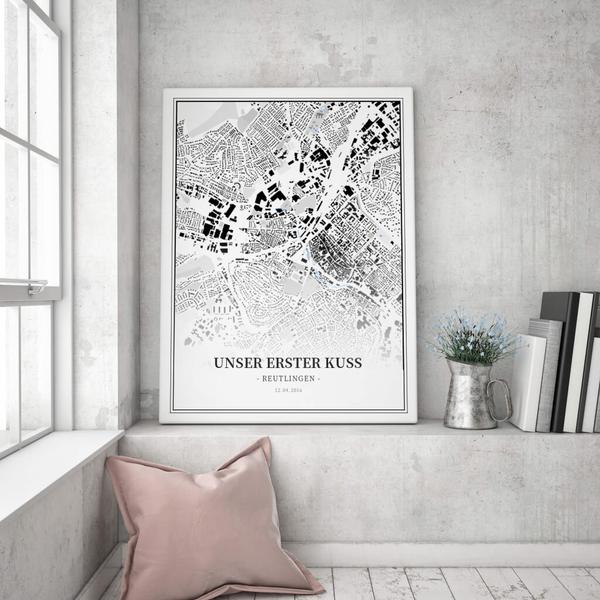 Stadtkarte Reutlingen im Stil Schwarzplan