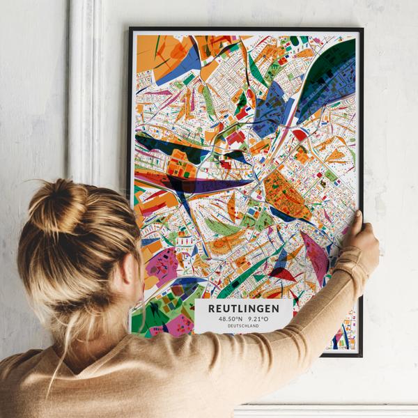 City-Map Reutlingen im Stil Kandinsky