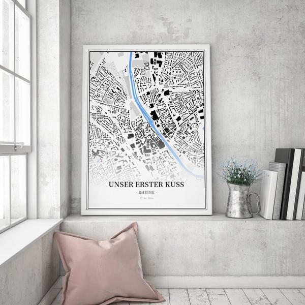 Stadtkarte Rheine im Stil Schwarzplan