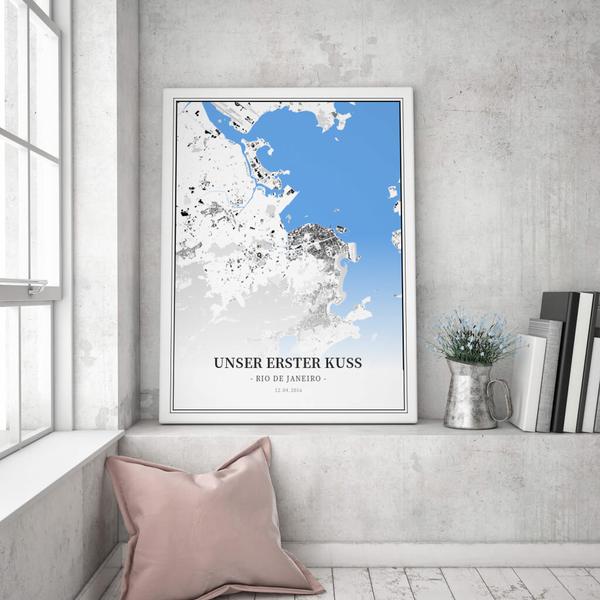 Stadtkarte Rio De Janeiro im Stil Schwarzplan