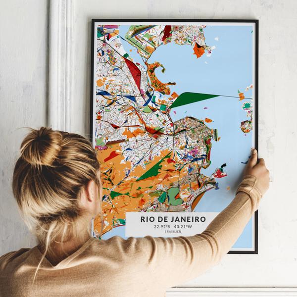 City-Map Rio De Janeiro im Stil Kandinsky