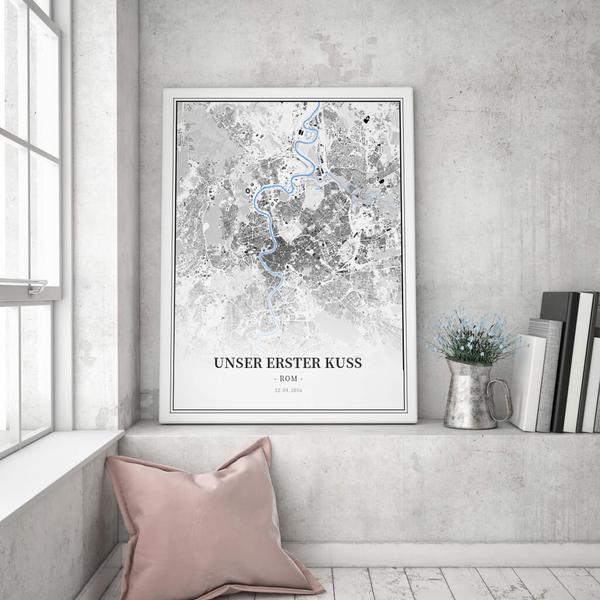 Stadtkarte Rom im Stil Schwarzplan