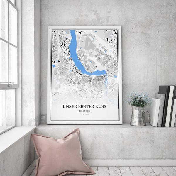 Stadtkarte Rostock im Stil Schwarzplan