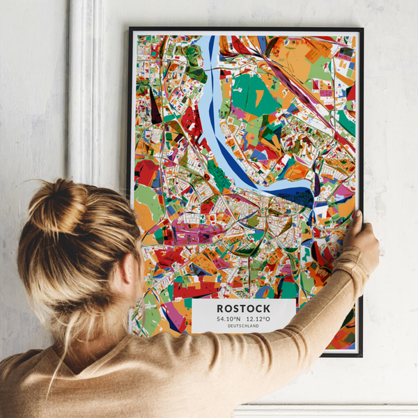 City-Map Rostock im Stil Kandinsky