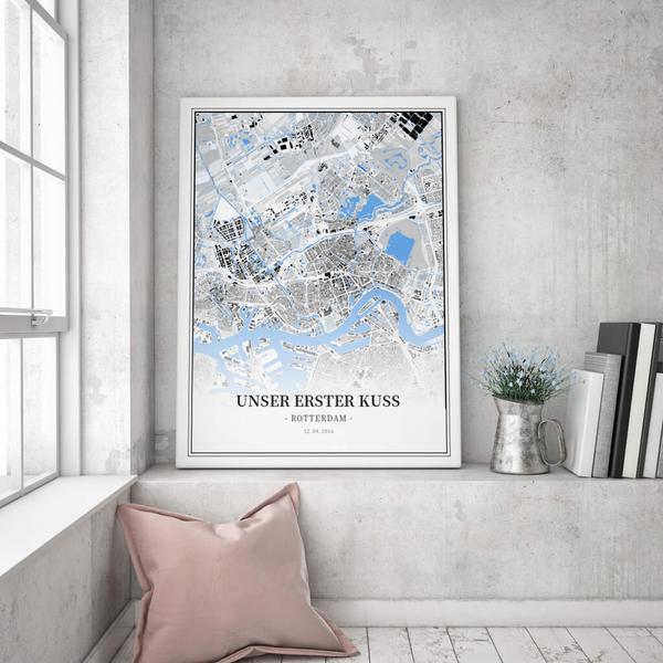 Stadtkarte Rotterdam im Stil Schwarzplan