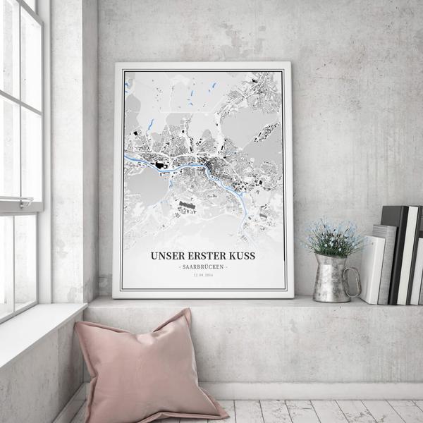 Stadtkarte Saarbrücken im Stil Schwarzplan