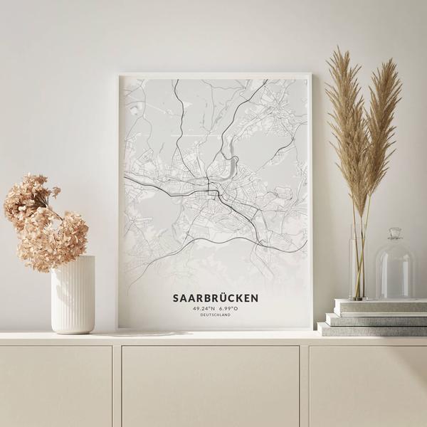 City-Map Saarbrücken im Stil Elegant