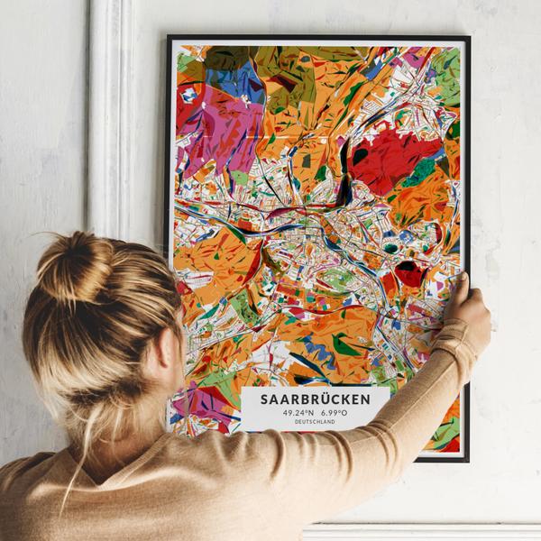 City-Map Saarbrücken im Stil Kandinsky