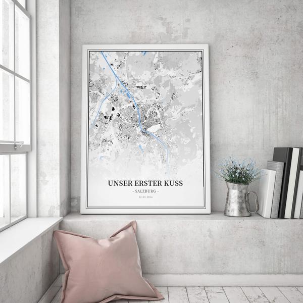 Stadtkarte Salzburg im Stil Schwarzplan